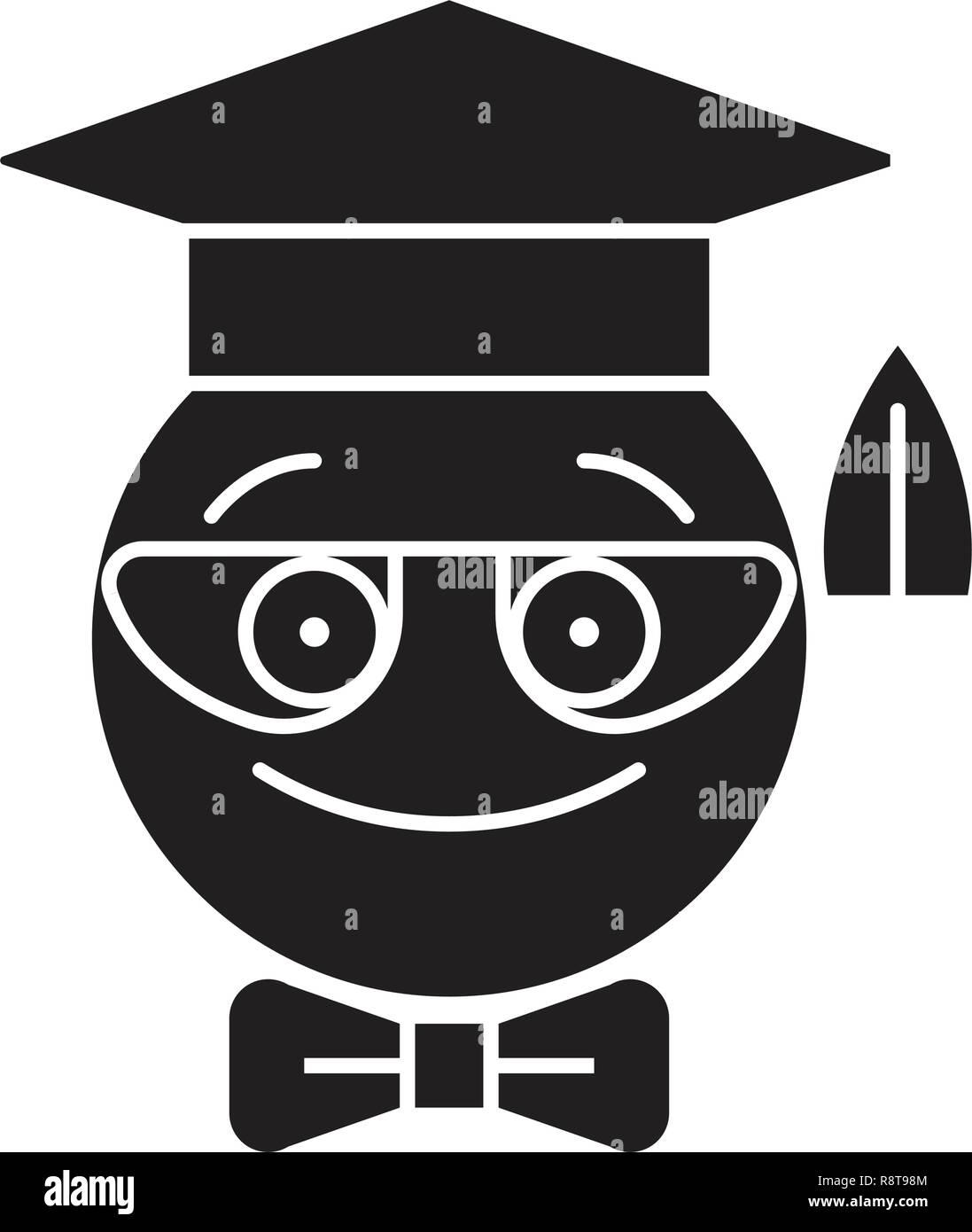 Nerdy student emoji black vector concept icon. Nerdy student emoji flat illustration, sign - Stock Vector