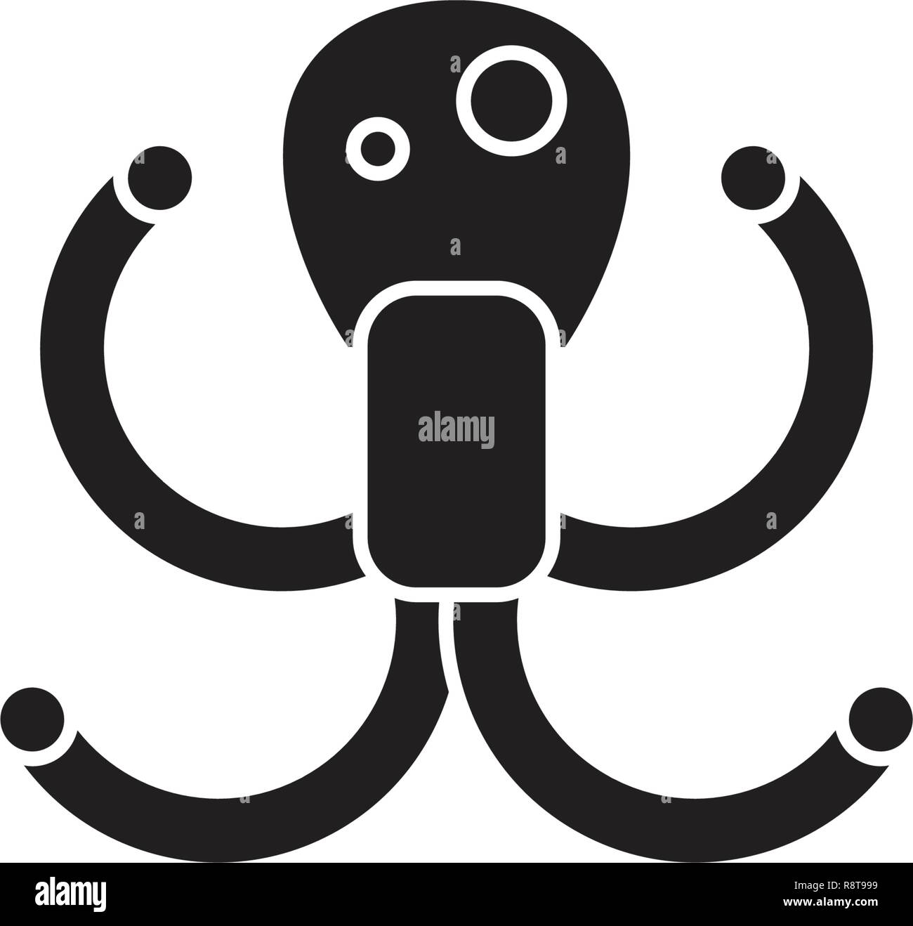 Octopus black vector concept icon. Octopus flat illustration, sign - Stock Image