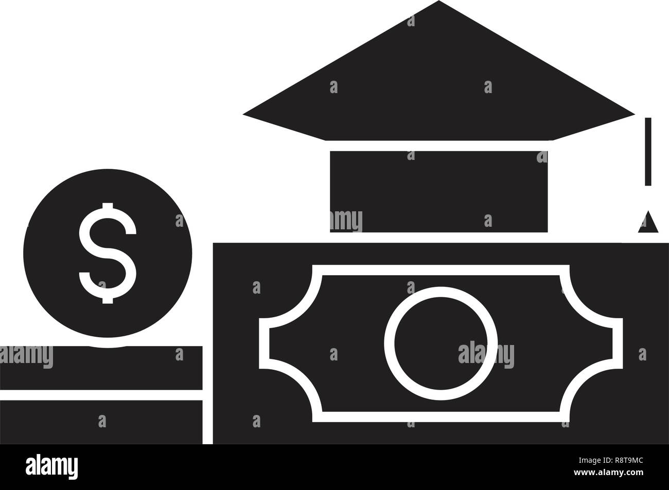 Paid tuition black vector concept icon. Paid tuition flat illustration, sign - Stock Vector