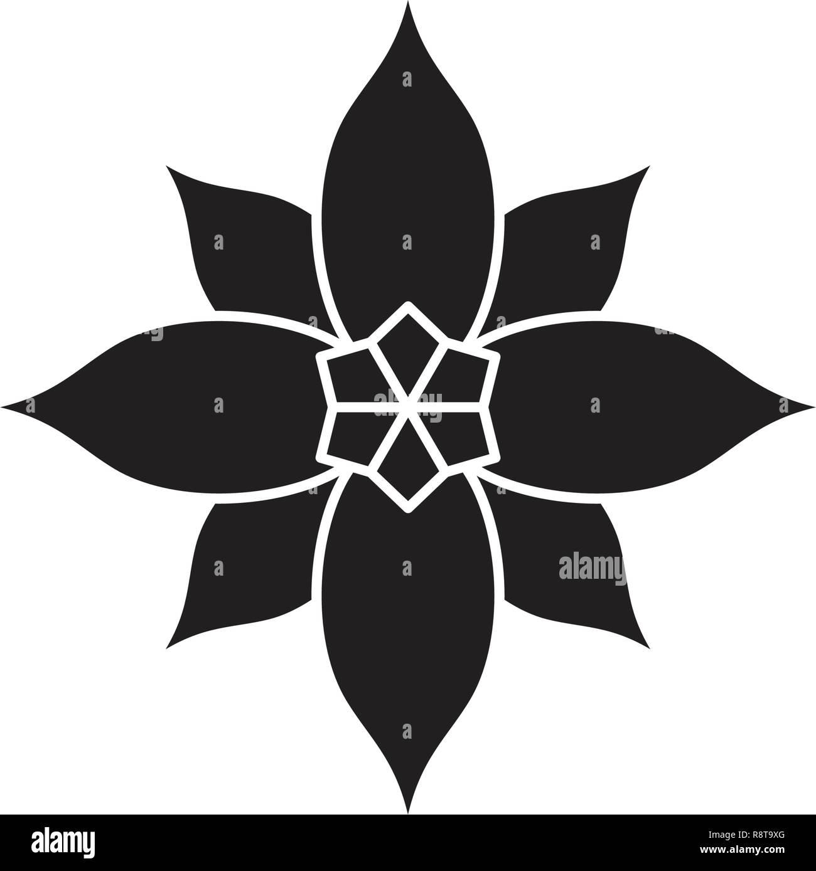 Poinsettia black vector concept icon. Poinsettia flat illustration, sign - Stock Vector