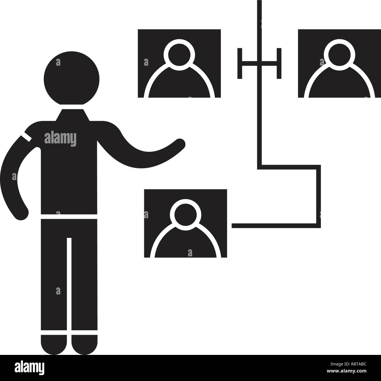Scheme of the interaction black vector concept icon. Scheme of the interaction flat illustration, sign - Stock Image