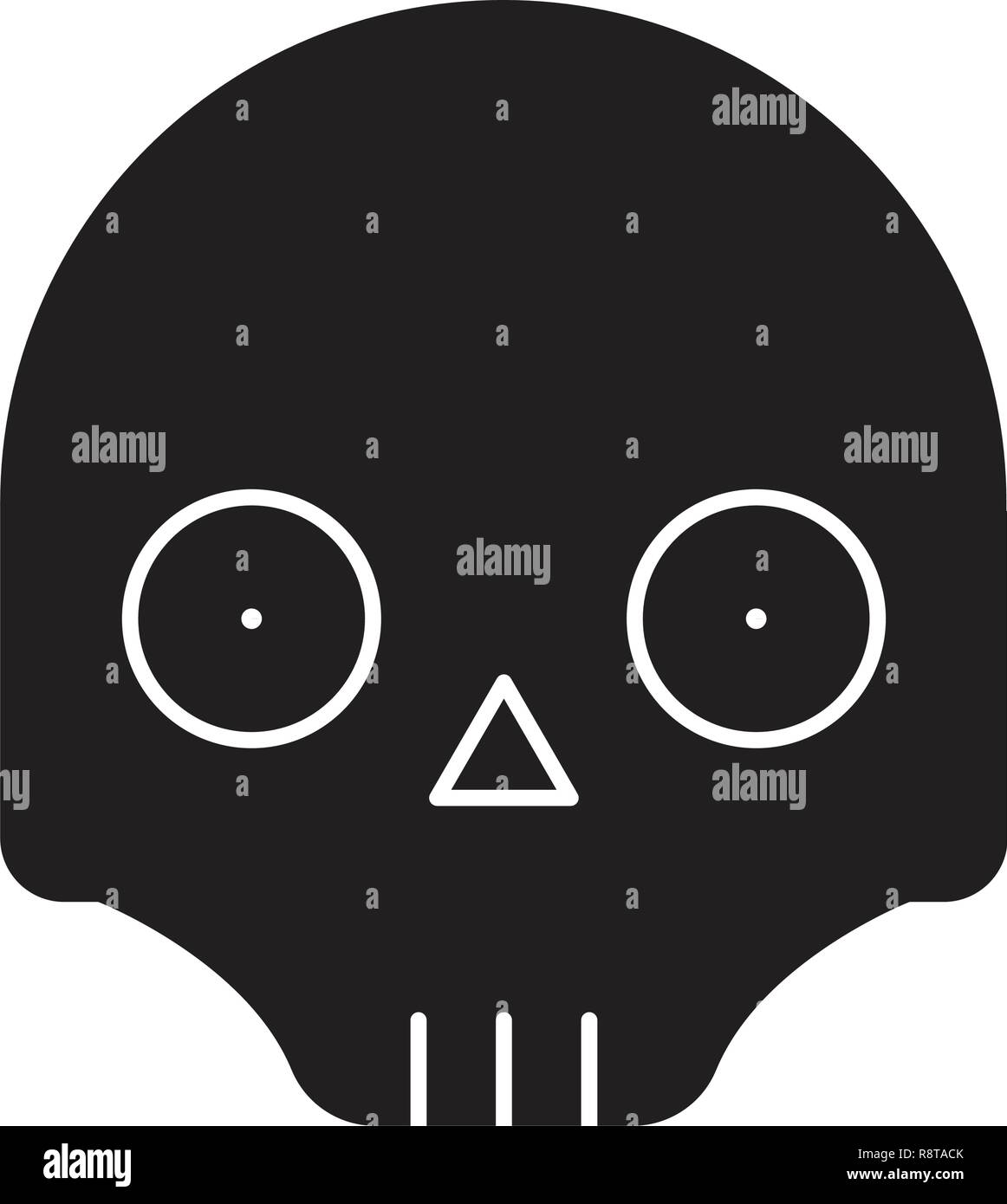 Scull emoji black vector concept icon. Scull emoji flat illustration, sign - Stock Vector