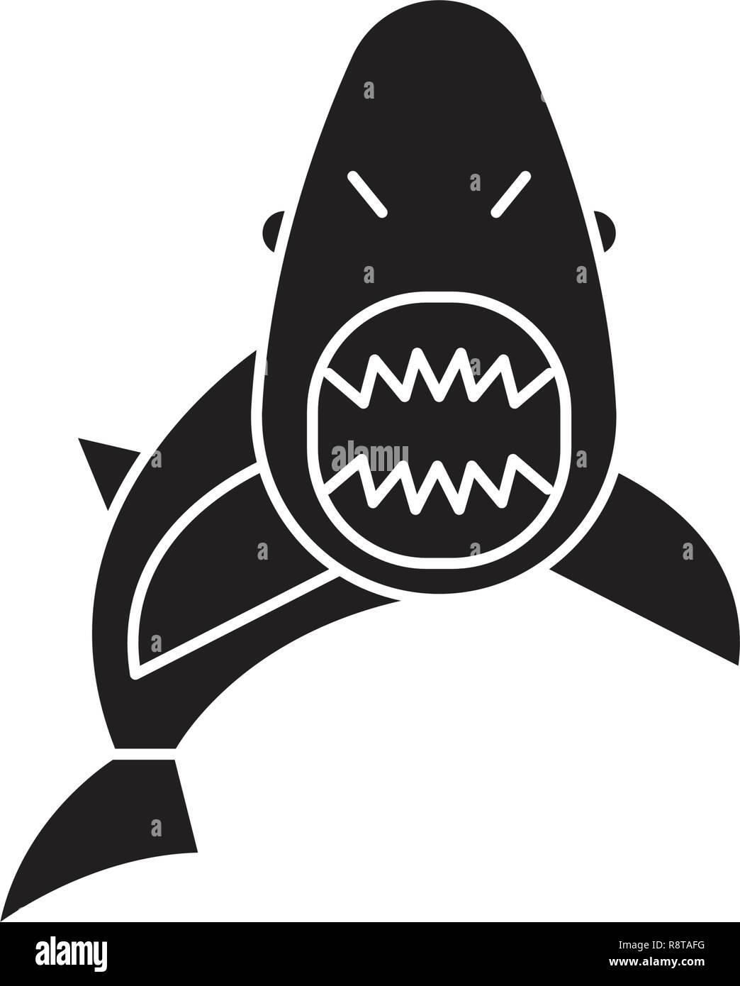 Shark black vector concept icon. Shark flat illustration, sign - Stock Image