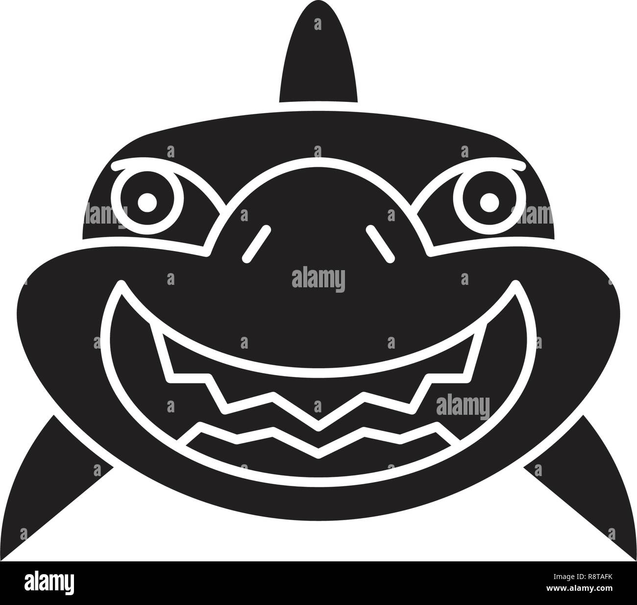 Shark smile black vector concept icon. Shark smile flat illustration, sign - Stock Image