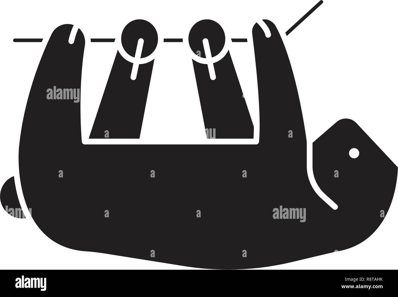 Sloth black vector concept icon. Sloth flat illustration, sign Stock Vector