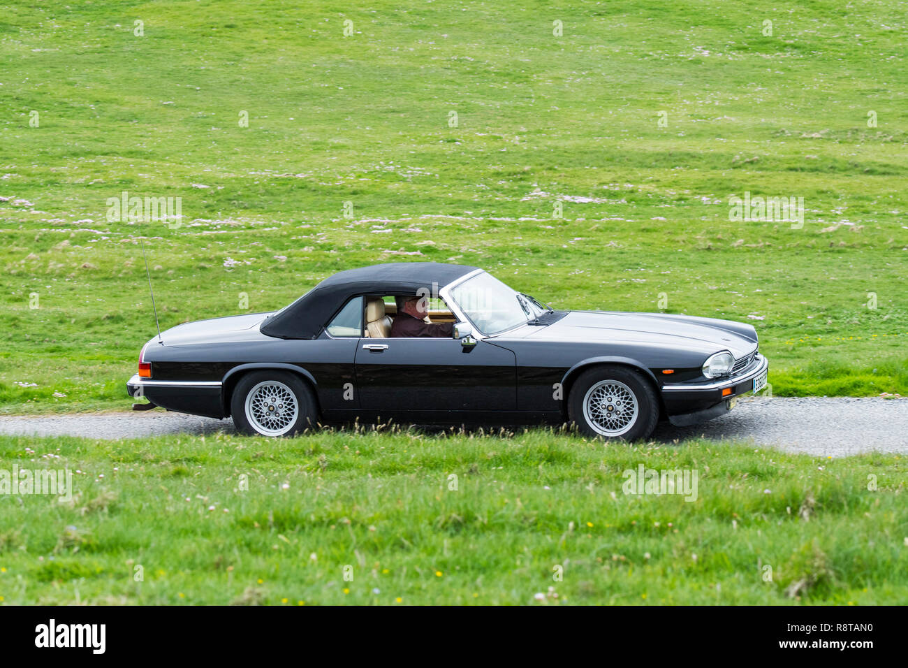 Black 1988 Jaguar XJ-S V12 convertible classic sports car driving along country road through meadow - Stock Image