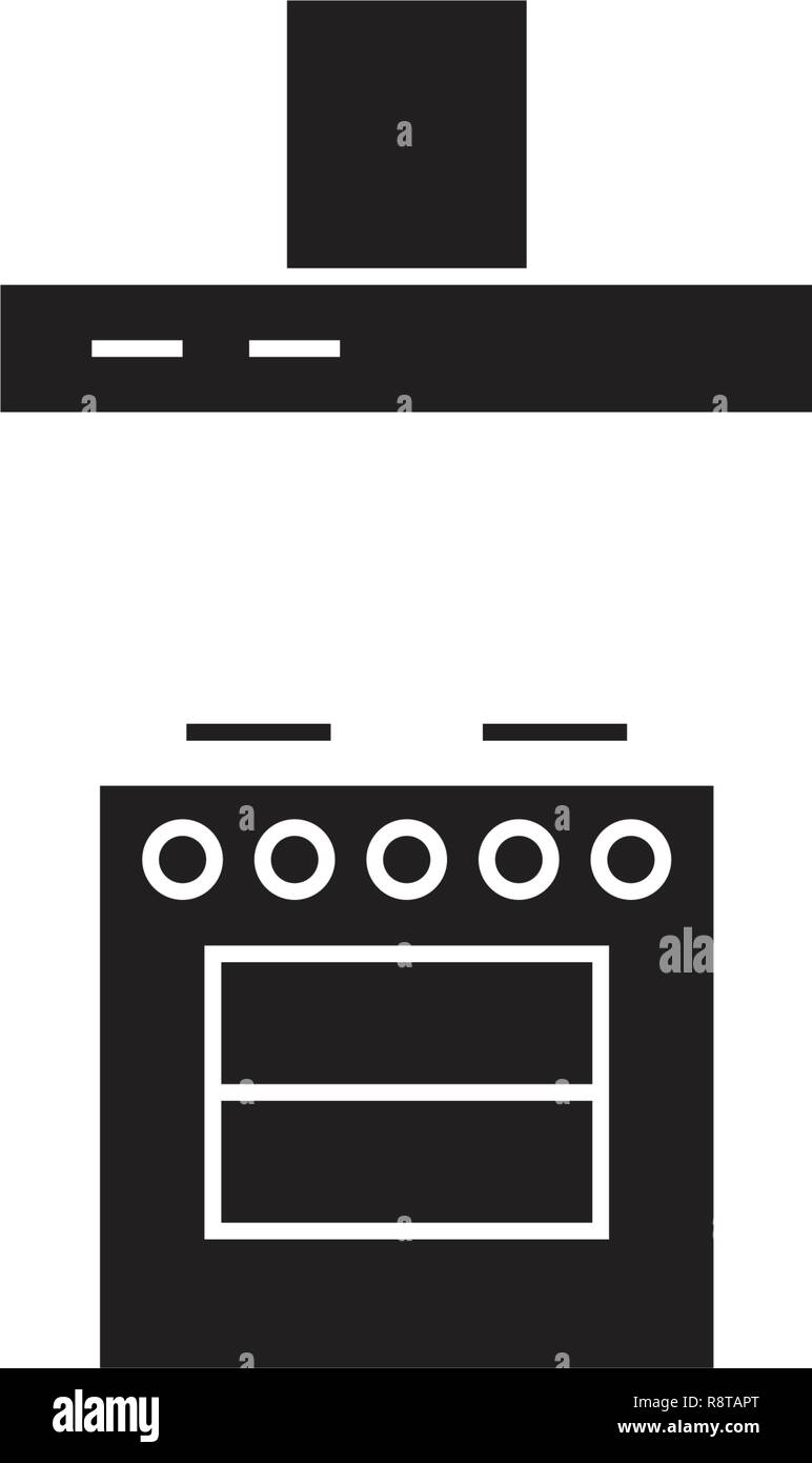 Stove with a vent black vector concept icon. Stove with a vent flat illustration, sign - Stock Vector