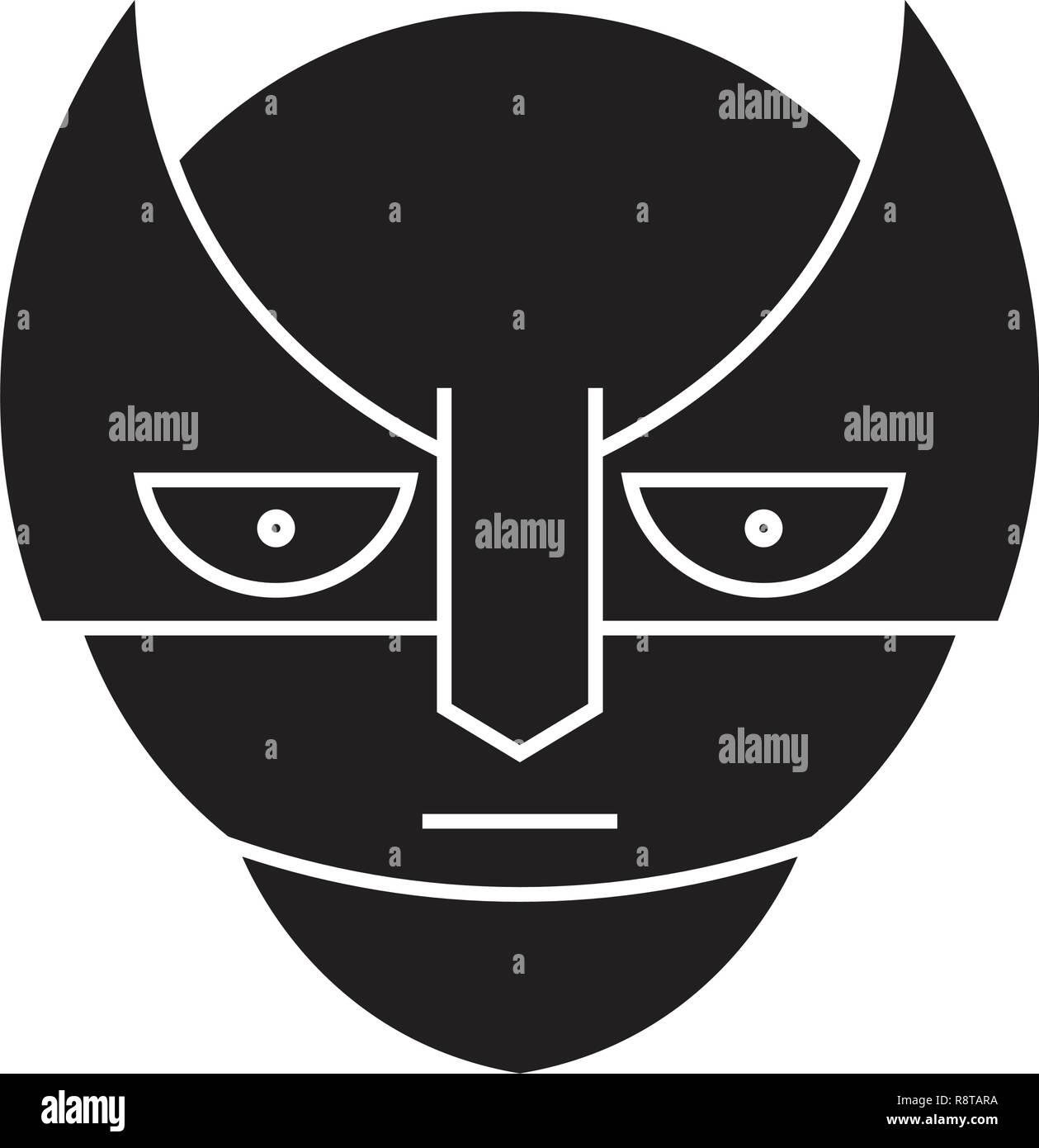 Super hero emoji black vector concept icon. Super hero emoji flat illustration, sign - Stock Vector