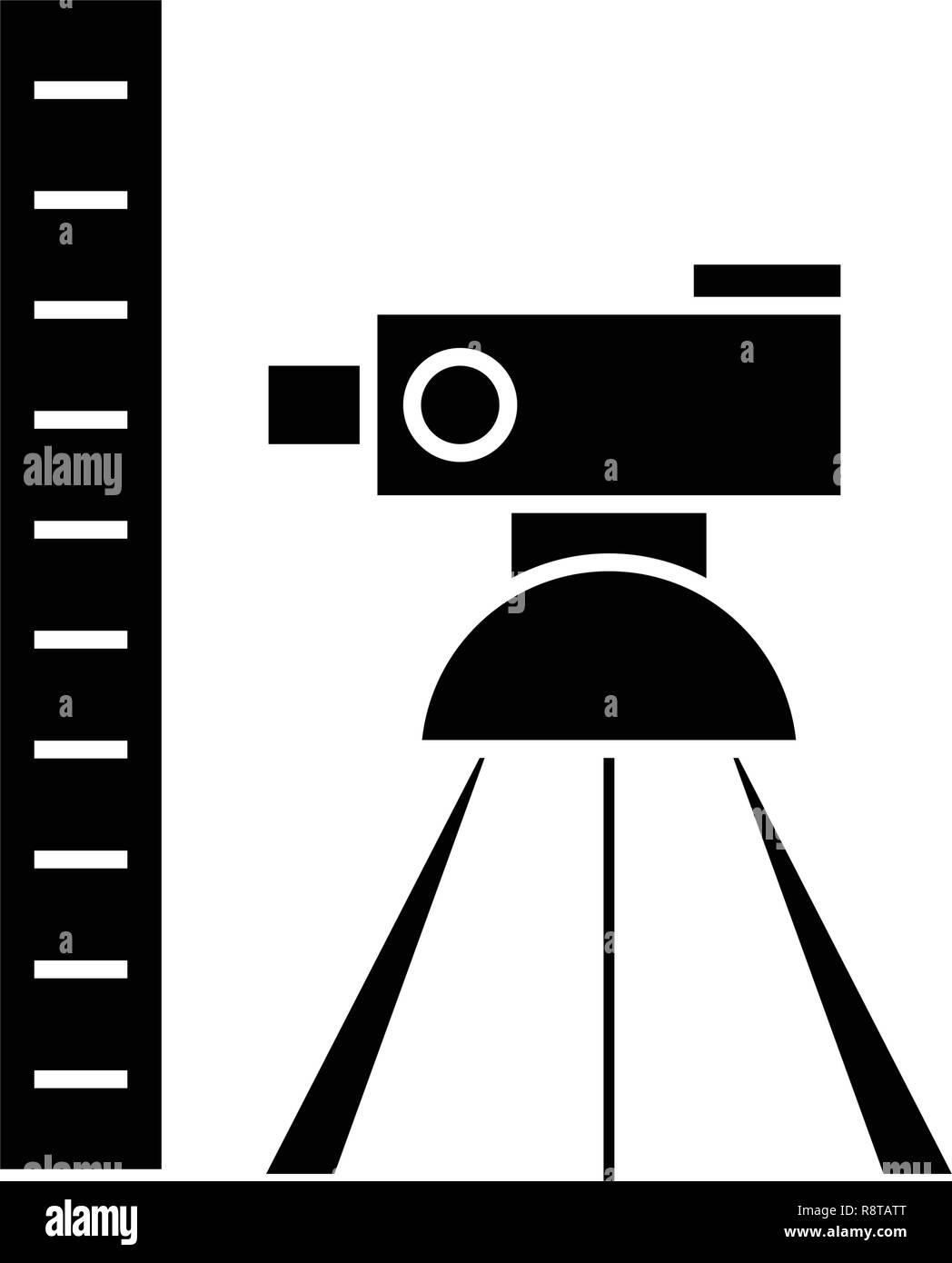 Theodolite survey calculation black vector concept icon. Theodolite survey calculation flat illustration, sign - Stock Image
