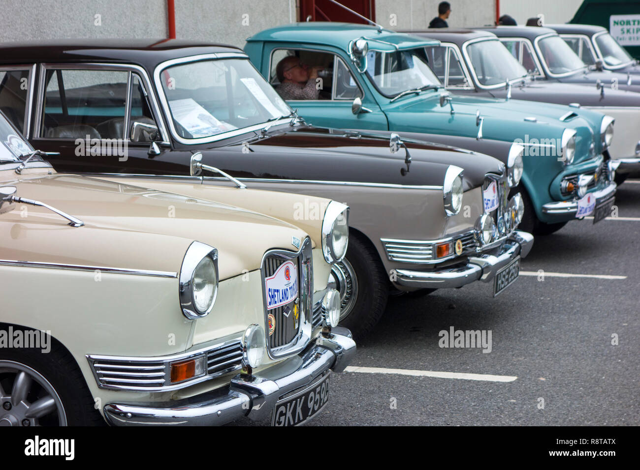 Vintage cars / oldtimers at the Shetland Classic Motor Show in Lerwick, Shetland Islands, UK - Stock Image