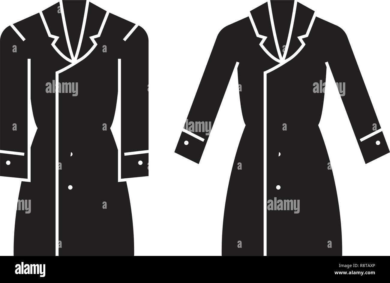 c95d6702341 Trench coat black vector concept icon. Trench coat flat illustration, sign