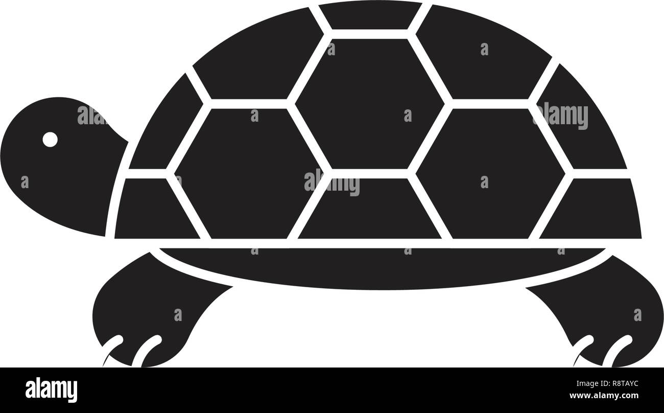 Turtle black vector concept icon. Turtle flat illustration, sign - Stock Vector