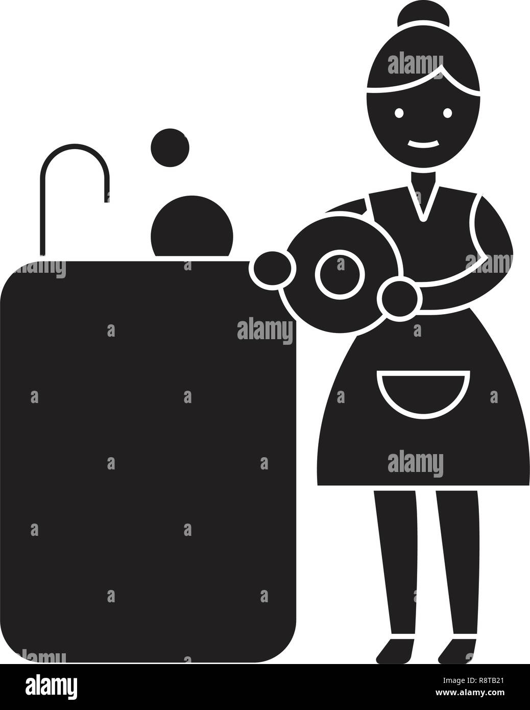 Washing dishes black vector concept icon. Washing dishes flat illustration, sign Stock Vector
