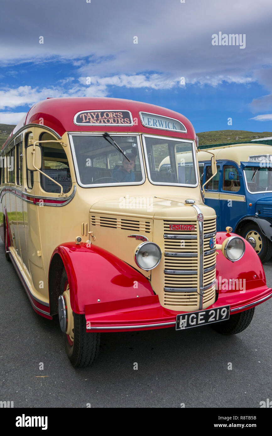 1950 Bedford OB Duple Vista Coach at the Shetland Classic Motor Show in Lerwick, Shetland Islands, UK - Stock Image