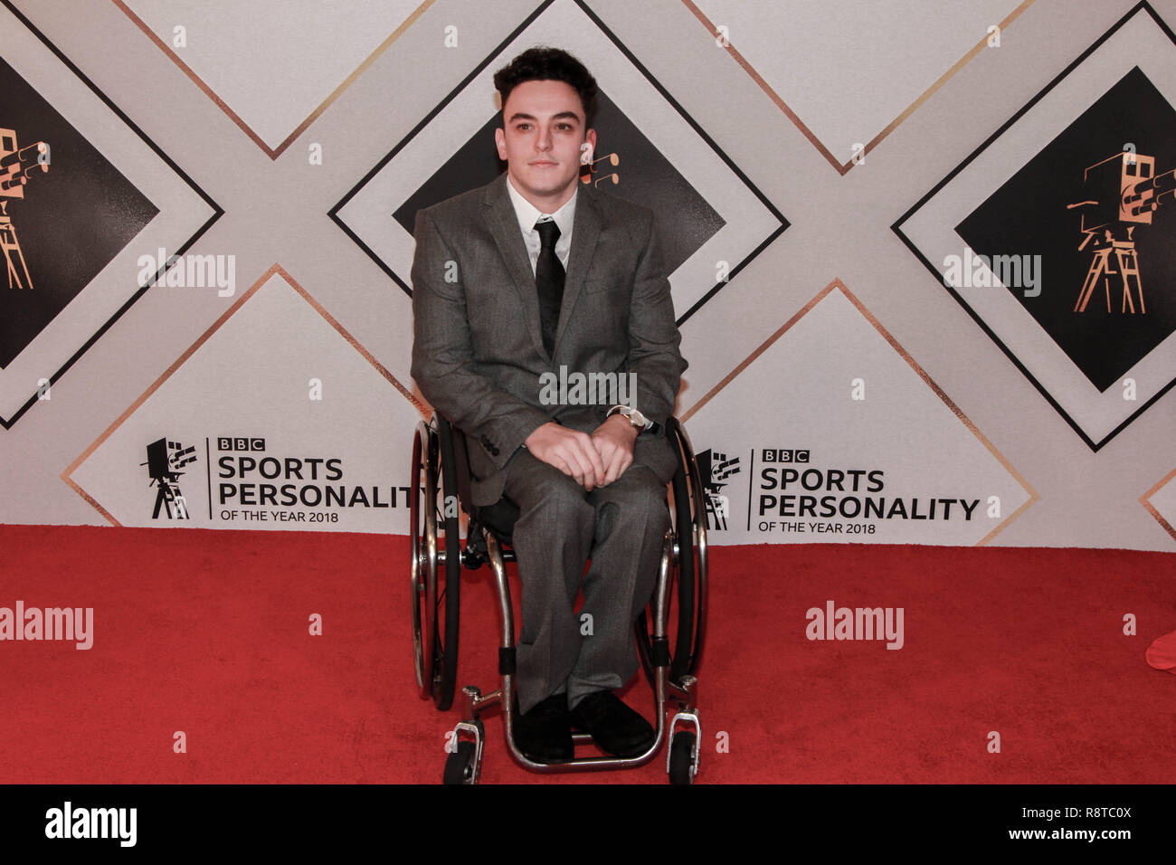 Harri Jenkins on the red carpet ahead of the BBC Sports Personality of the Year Awards 2018 at Genting Arena, Birmingham, United Kingdom - Stock Image