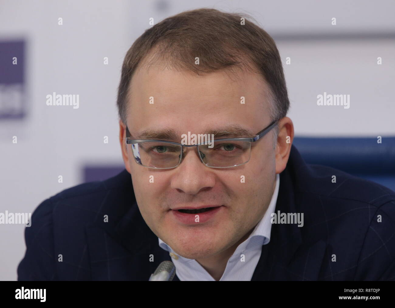 Moscow, Russia. 17th Dec, 2018. MOSCOW, RUSSIA - DECEMBER 17, 2018: The President of the Lider Invest real estate development company, Oleg Mamayev, at a press conference by Urban Awards organisers at the Moscow office of the TASS news agency to discuss the trends in Moscow's real estate development market in 2018. Vladimir Gerdo/TASS Credit: ITAR-TASS News Agency/Alamy Live News - Stock Image