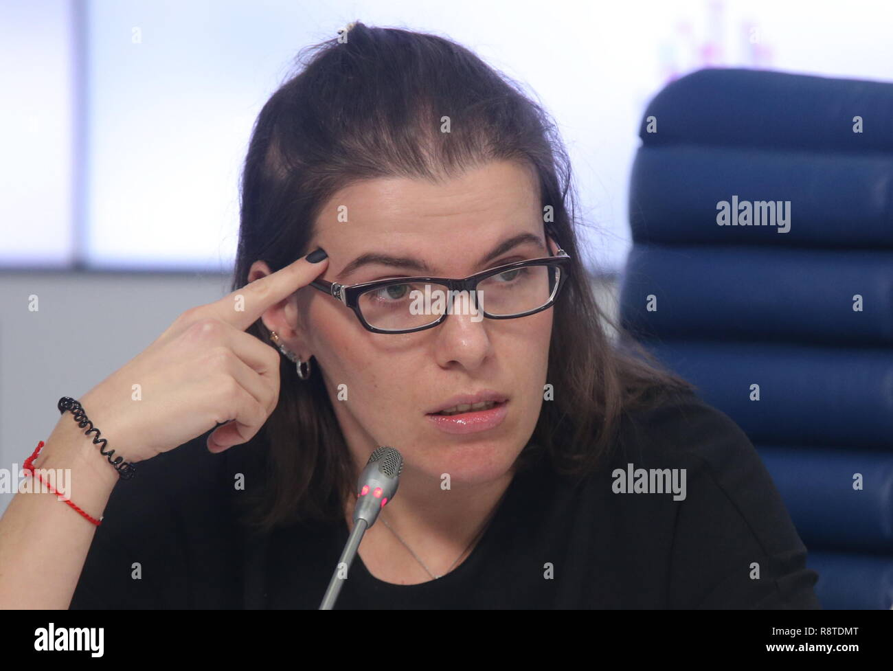 Moscow, Russia. 17th Dec, 2018. MOSCOW, RUSSIA - DECEMBER 17, 2018: The editor-in-chief of the urbanus.ru web portal, Anastasia Kremenchuk, at a press conference by Urban Awards organisers at the Moscow office of the TASS news agency to discuss the trends in Moscow's real estate development market in 2018. Vladimir Gerdo/TASS Credit: ITAR-TASS News Agency/Alamy Live News - Stock Image