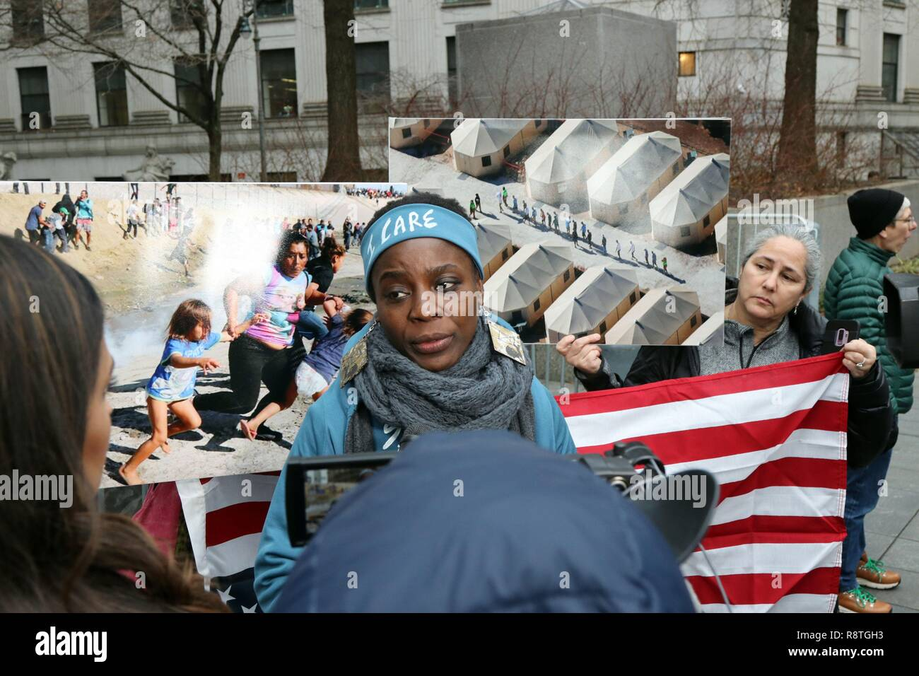 New York, NY, USA. , . Protester THERESE PATRICIA OKOUMOU, 44, who was charged with trespassing, disorderly conduct and interfering with government functions after partially climbing the Statue of Liberty monument on July 4, 2018, was found guilty on all charges in the U.S. Federal Court in lower Manhattan on 17 December 2018. The Congolese-born US naturalized-citizen, will be sentenced on 5 March 2019 and faces up to 6 months of jail on each of three different charges. © 2018 Credit: G. Ronald Lopez/Alamy Live News Stock Photo