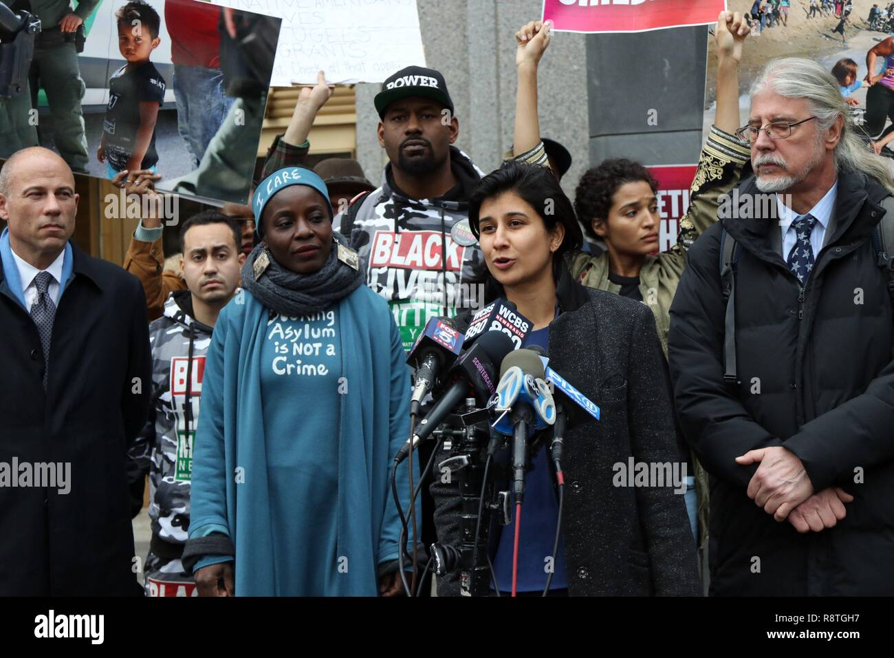 New York, NY, USA. 17th. Dec, 2018. Protester THERESE PATRICIA OKOUMOU, 44, who was charged with trespassing, disorderly conduct and interfering with government functions after partially climbing the Statue of Liberty monument on July 4, 2018, was found guilty on all charges in the U.S. Federal Court in lower Manhattan on 17 December 2018. The Congolese-born US naturalized-citizen, will be sentenced on 5 March 2019 and faces up to 6 months of jail on each of three different charges. Pictured is THERESE PATRICIA OKOUMOU and legal advisor Attorney MICHAEL AVENATTI, with defence Attorneys RON K Stock Photo