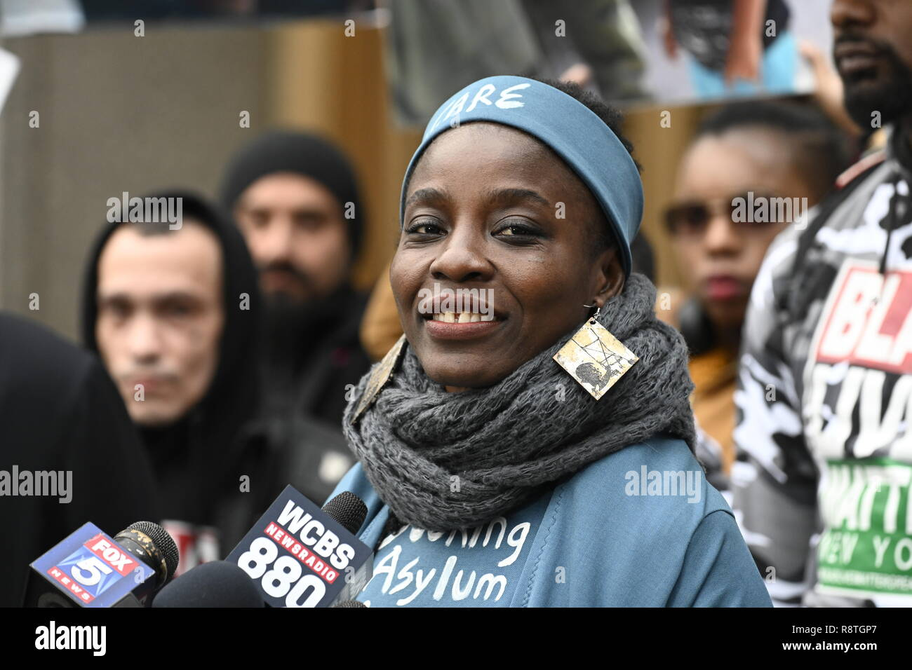 New York, USA. 17th Dec, 2018. New York, U.S., 17 December 2018 Statue of Liberty climber Patricia Okoumou speaks outside federal court following her conviction by a federal magistrate judge on misdemeanor charges of trespassing, disorderly conduct, and interfering with the functioning of government for her act of civil disobedience on July 4. Okoumou climbed the base of the statue to protest against Trump administration immigration policies. She is to be sentenced on March 5, 2019. Credit: Joseph Reid/Alamy Live News Stock Photo