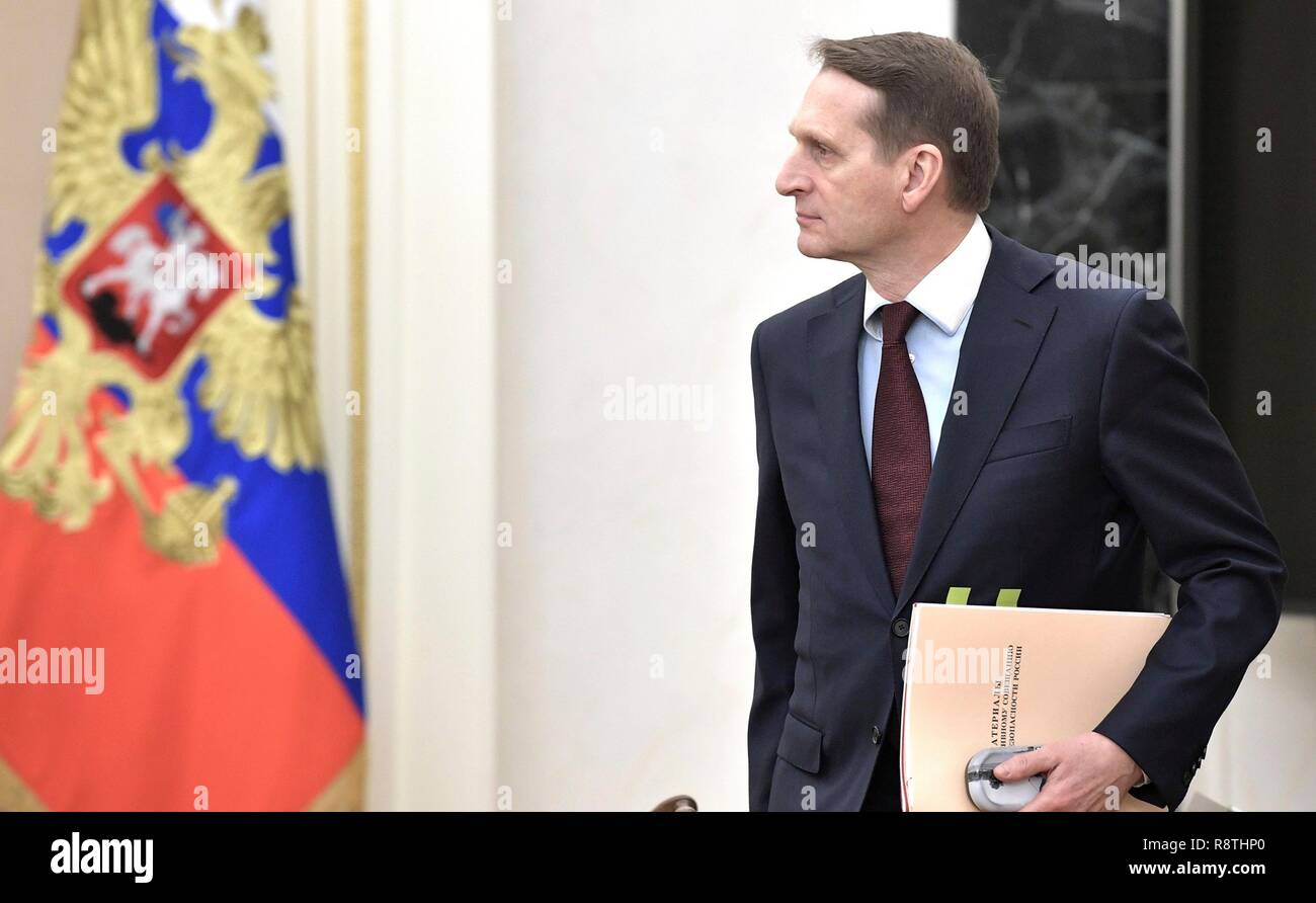 Moscow, Russia. 17th Dec, 2018. Russian Director of the Foreign Intelligence Service Sergei Naryshkin arrives before a meeting of the Russian Security Council at the Kremlin December 17, 2018 in Moscow, Russia. Credit: Planetpix/Alamy Live News - Stock Image