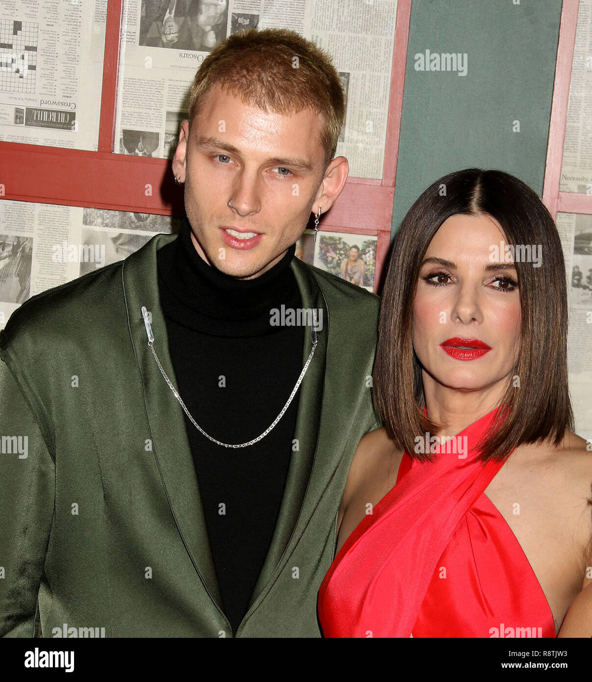 New York City, New York, USA. 17th Dec, 2018. Actor COLSON BAKER aka MACHINE GUN KELLY and actress SANDRA BULLOCK attend the New York Special Screening of 'Bird Box' held at Alice Tully Hall at Lincoln Center. Credit: Nancy Kaszerman/ZUMA Wire/Alamy Live News Stock Photo