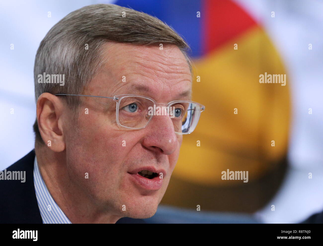 Moscow, Russia. 18th Dec, 2018. MOSCOW, RUSSIA - DECEMBER 18, 2018: The Executive Director of the German Committee on Eastern European Economic Relations, Michael Harms at a press conference on developing German business in Russia in 2019. Vladimir Gerdo/TASS Credit: ITAR-TASS News Agency/Alamy Live News - Stock Image