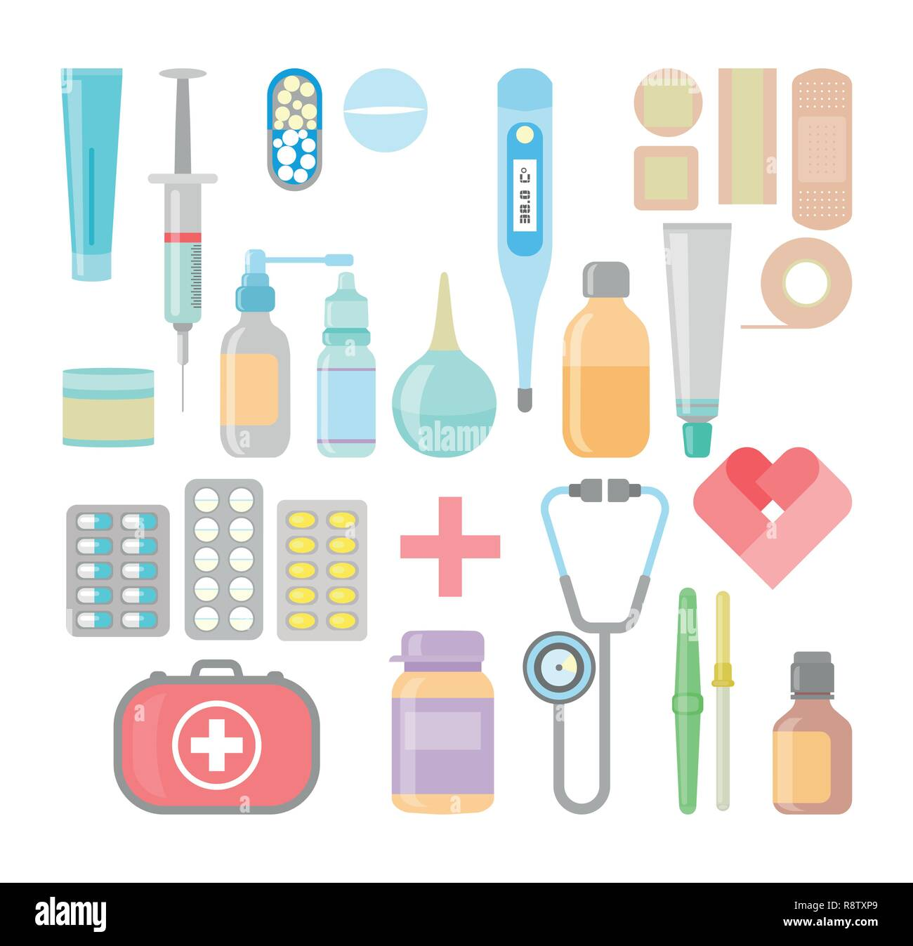 Medicine and drugs icon set in flat style - Stock Vector