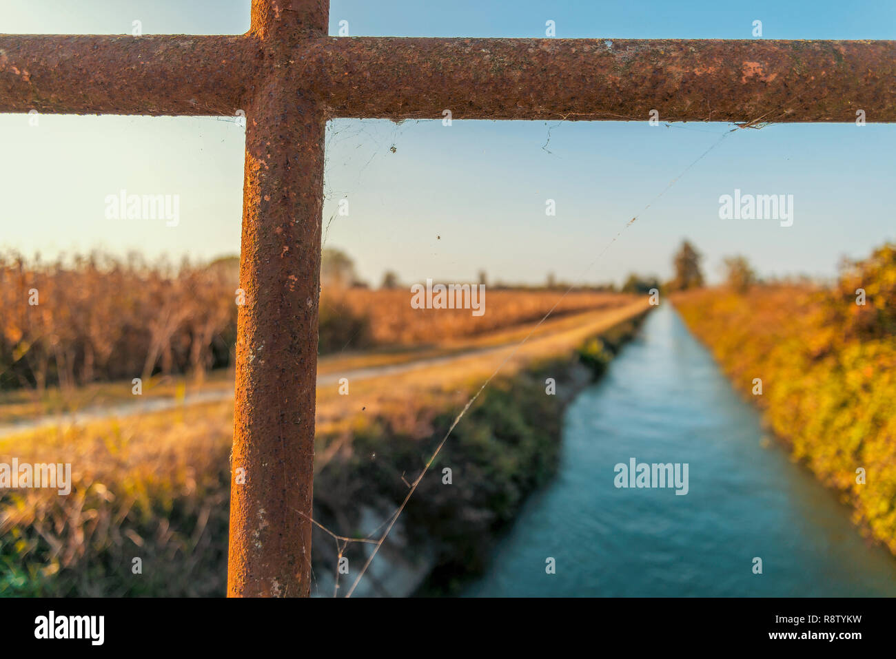 Bridge over an irrigation channel of the Lomellina at sunset - Stock Image