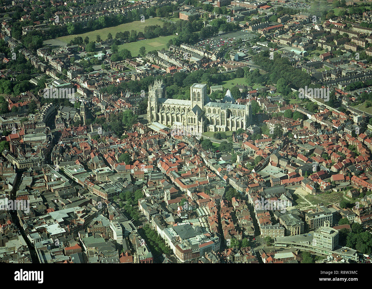 Aerial photo of the City of York showing the Minster and town centre - Stock Image