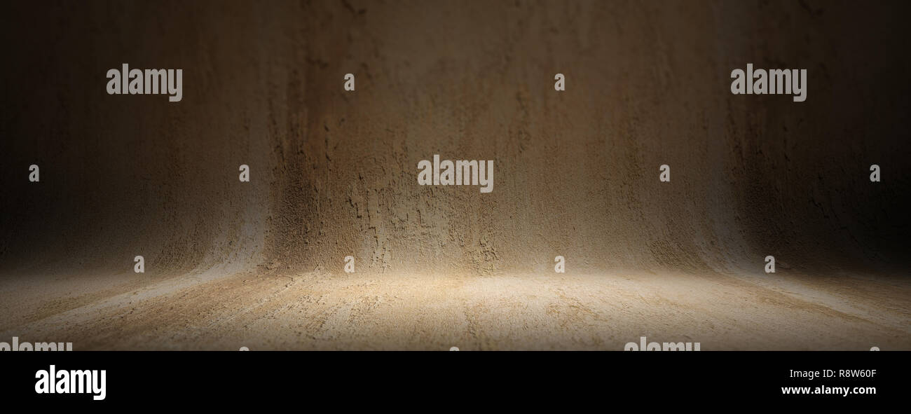 Grey beige plastered curved texture background, banner. Empty wall and floor for presentation, copy space Stock Photo