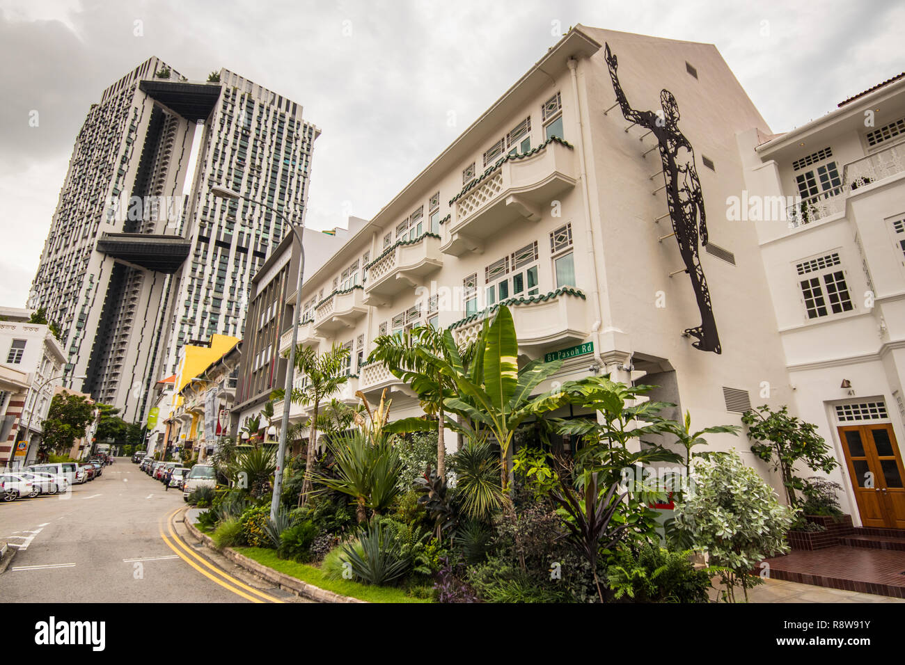 Traditional buildings on Bukit Pasoh Road, Outram Park, Singapore Stock Photo