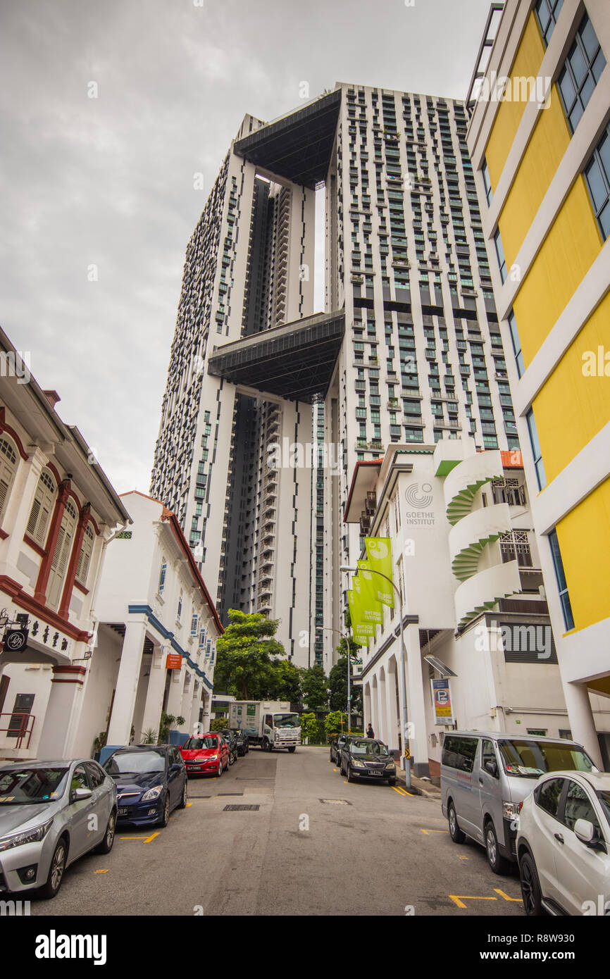 Traditional buildings on Bukit Pasoh Road, Outram Park, Singapore - Stock Image