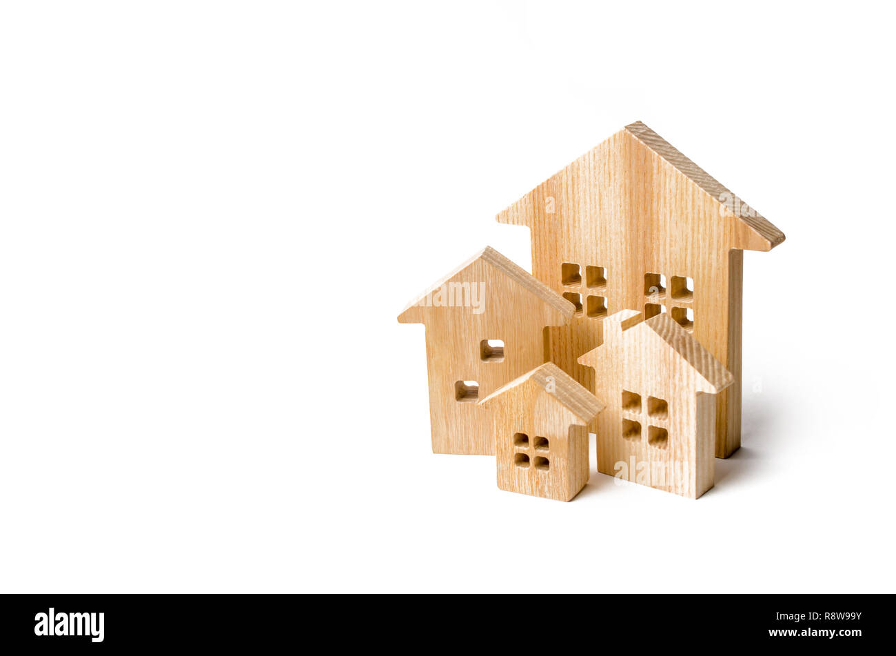 Buying and selling of real estate, construction. Apartments and apartments. City, settlement. Minimalism. for presentations. real estate market. Three - Stock Image