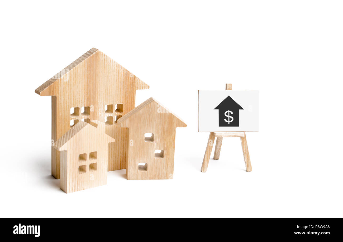 Three houses and a sign on a white background. Buying and selling of real estate, construction. Apartments and apartments. City, settlement. Minimalis - Stock Image