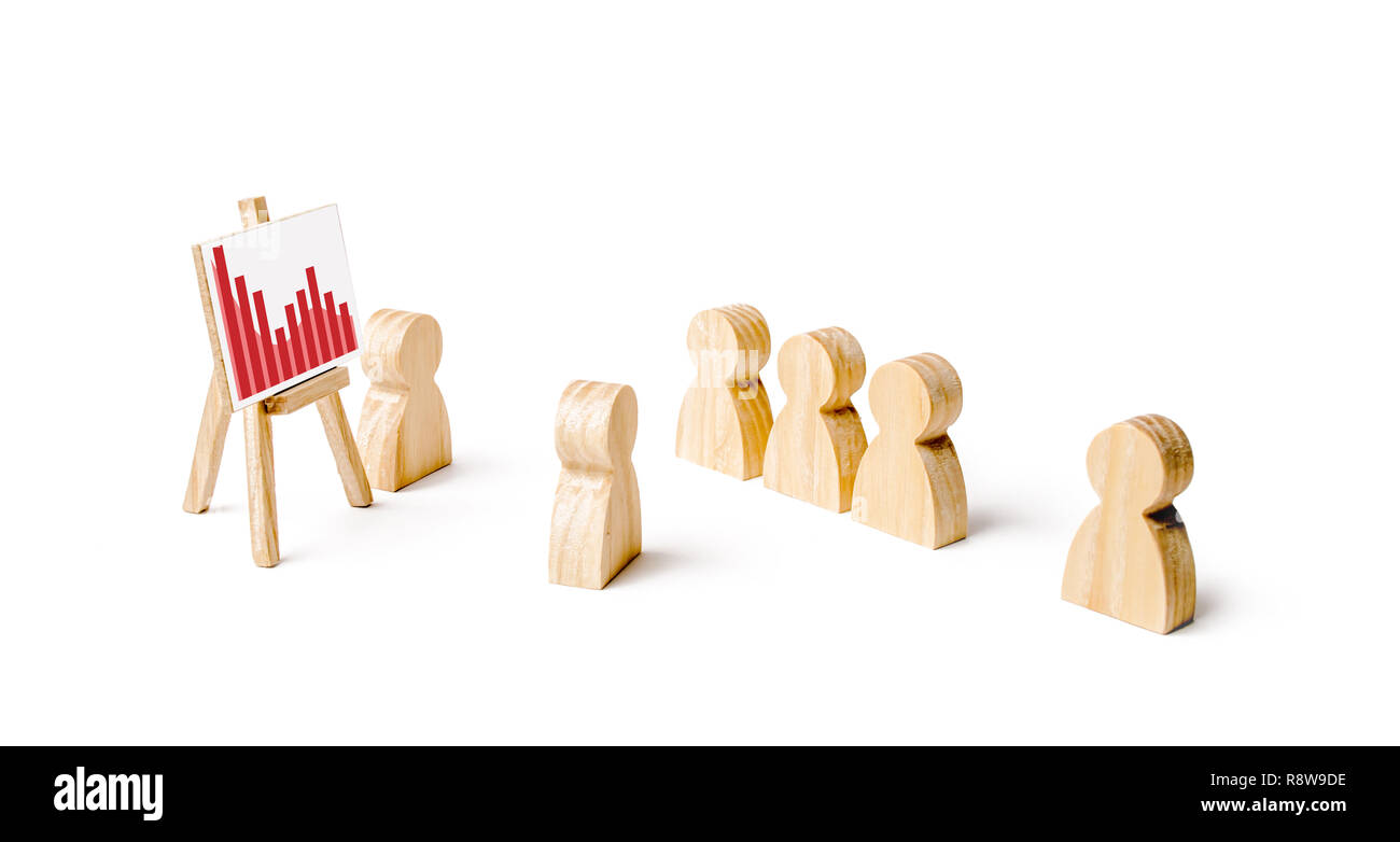 Wooden figures of people stand in the formation and listen to their leader. Business training, briefing and inspirational speech. Employee reports to  - Stock Image