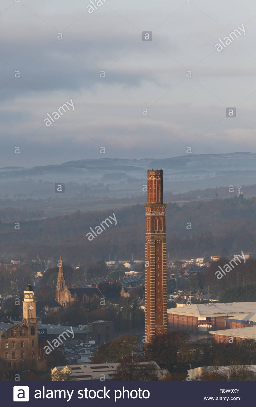 Elevated view of Cox's stack chimney Lochee Dundee Scotland  December 2018 - Stock Image