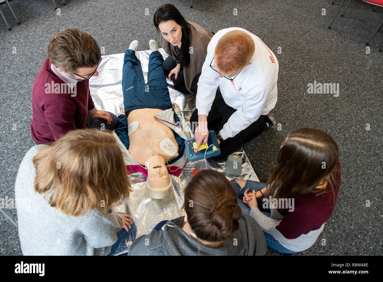 First Aid Course, First Aid Training, Emergencies, Practice Training, Resuscitation, Cardiac Arrest, Using AED, Automated External Defibrillation, Stock Photo