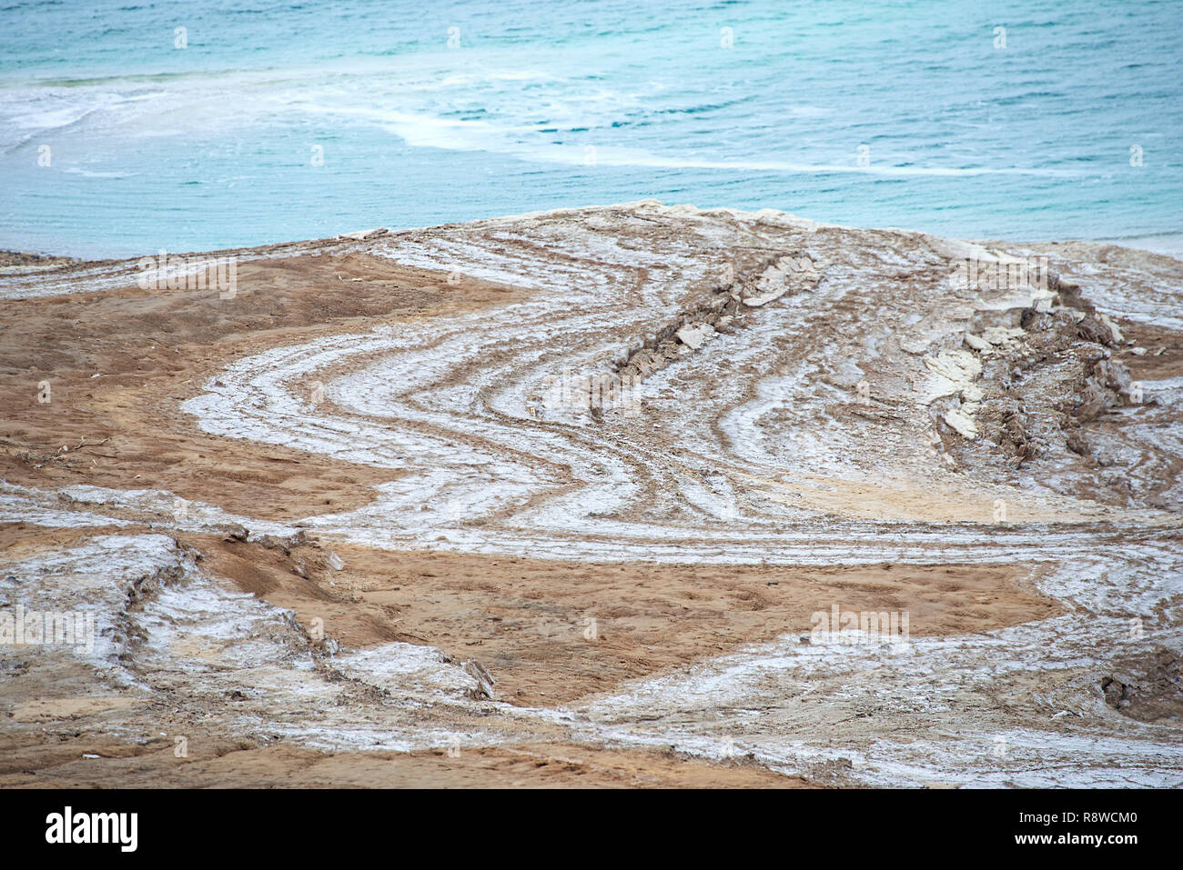 Landscape of the Dead Sea,Jordan, beautiful coast failures of the soil and the strong shallowing of the sea,illustrating an environmental catastrophe - Stock Image
