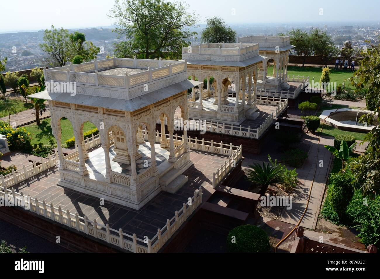 Cenotophs of the Royal rulers of Jodhpur Marwar Kings Jaswant Thada Rajashan India Stock Photo