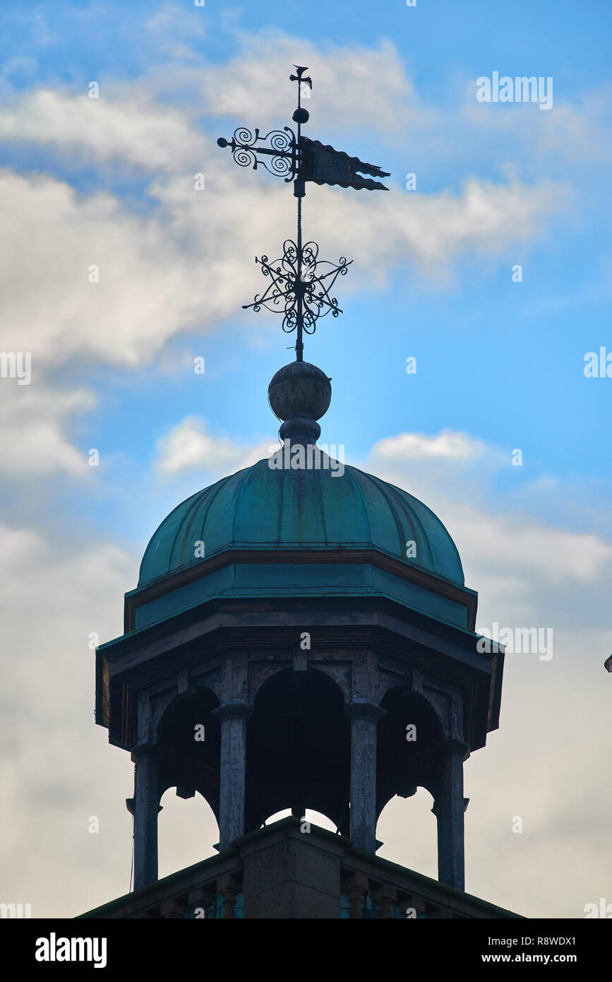 Cupola and weather vane above All Saints church in Northampton, England. Stock Photo