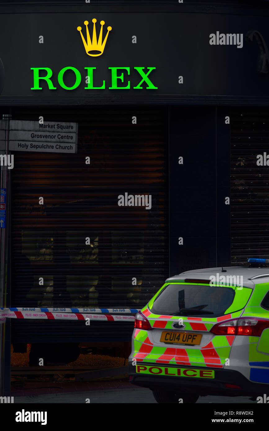 Robbery at Michael Jones jeweller, Northampton, England, 14th December 2018. - Stock Image