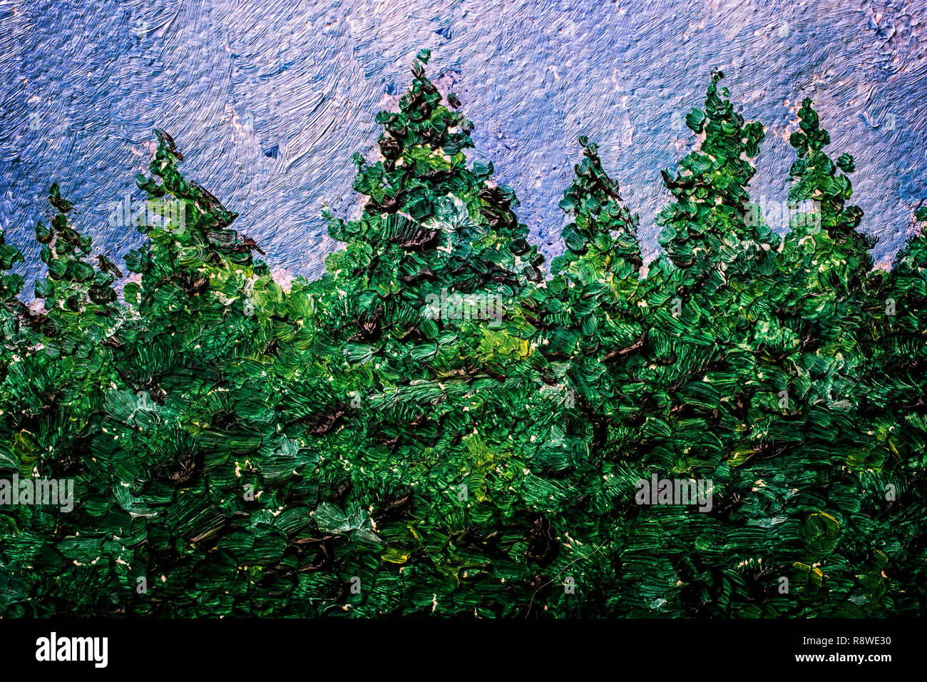 Oil painting detail of a row of conifers such as spruce. - Stock Image