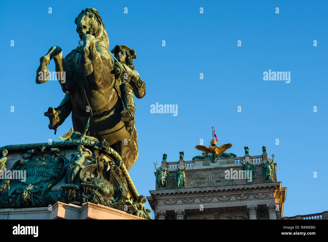 Prince Eugene of Savoy equestrian statue in front of Neue Burg building on Heldenplatz in Hofburg palace complex. - Stock Image