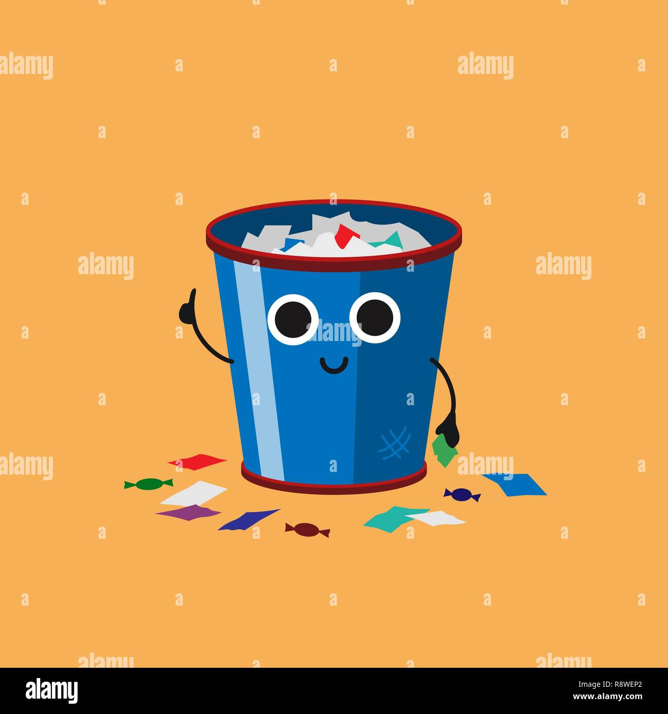 Smiling Cute Overflowing trash can with multicolor paper trash, Habituate kid card or poster. - Stock Image