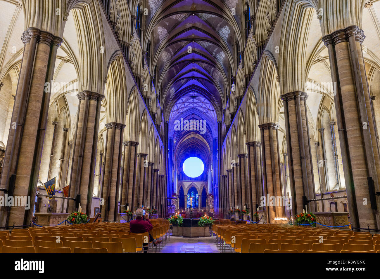 'The Light' art installation by Richard McLester inside Salisbury Cathedral as part of the 'From Darkness to Light art illuminations, England, UK - Stock Image