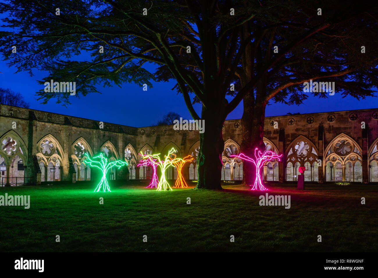 'Lumen' by David Ogle in the Cloister Garth of the Salisbury Cathedral as part of the 'From Darkness to Light art Illuminations',England, UK - Stock Image