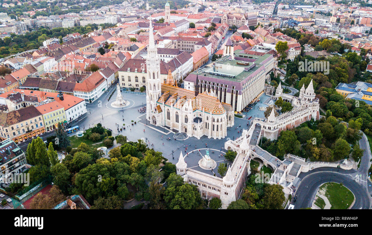 Fishermen's Bastion, Matthias Church or Mátyás Templom, Budapest, Hungary - Stock Image