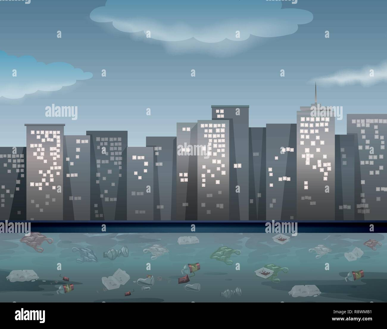 Water pollution in urban town illustration - Stock Vector