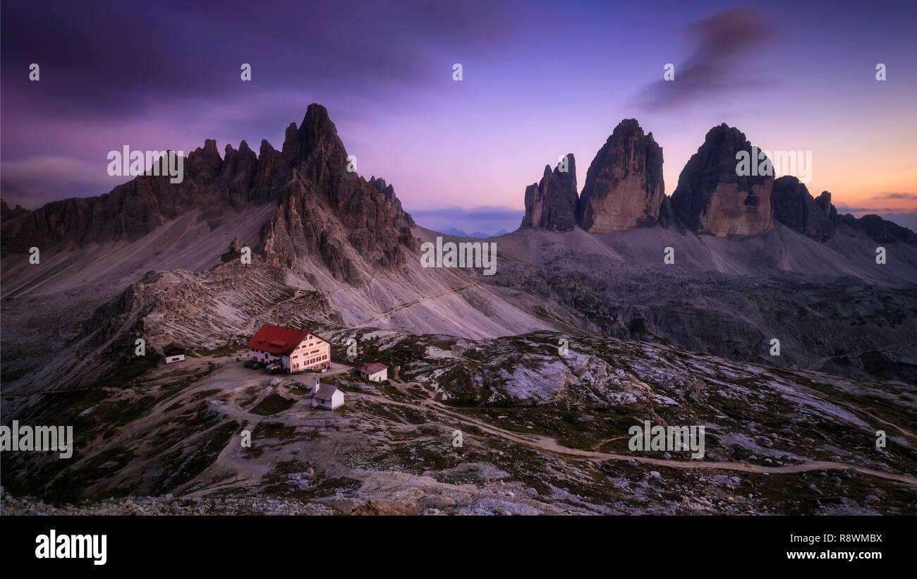 Tre Cime Di Lavaredo, Italy Stock Photo